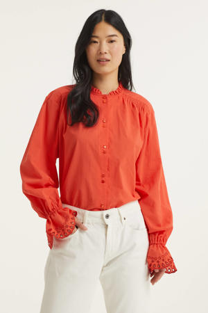 blouse Frederique met ruches rood