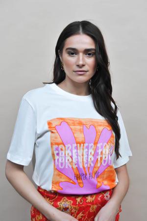 T-shirt Forevertour met printopdruk gebroken wit