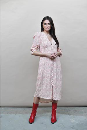jurk Brooke met all over print en plooien rood