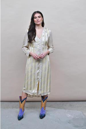satijnen jurk Dani met all over print lichtgeel