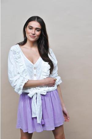blouse Blake met borduursels gebroken wit