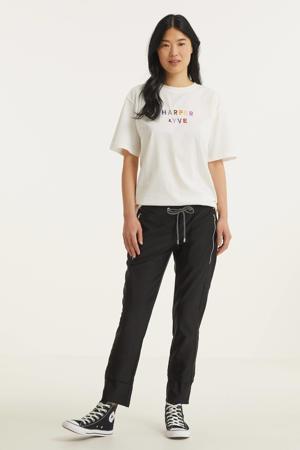 T-shirt met logo en borduursels gebroken wit