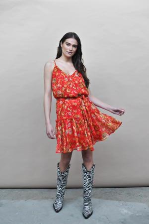 gebloemde jurk Britt rood