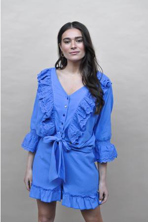 straight fit korte broek Donna met textuur blauw