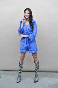 HARPER & YVE straight fit korte broek Donna met textuur blauw, Blauw