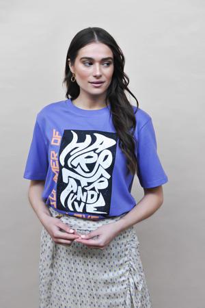 T-shirt Summeroflove met printopdruk blauw
