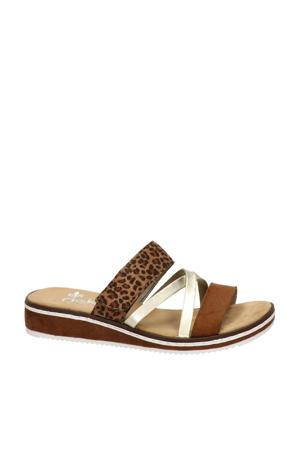slippers met panterprint cognac