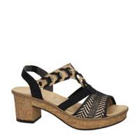 Rieker   sandalettes zwart/bruin, Zwart/bruin