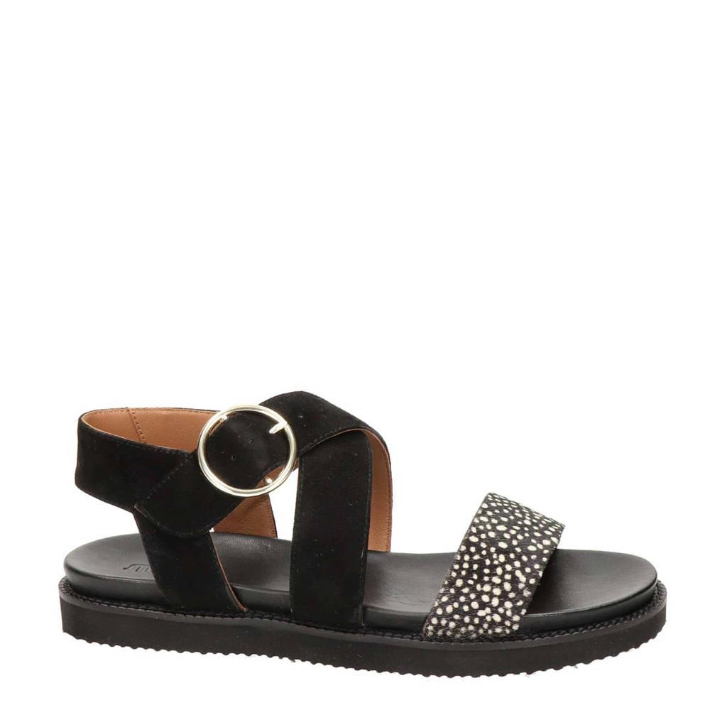 Maruti Dion  suède sandalen zwart/wit, Zwart