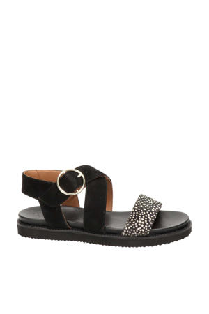 Dion  suède sandalen zwart/wit