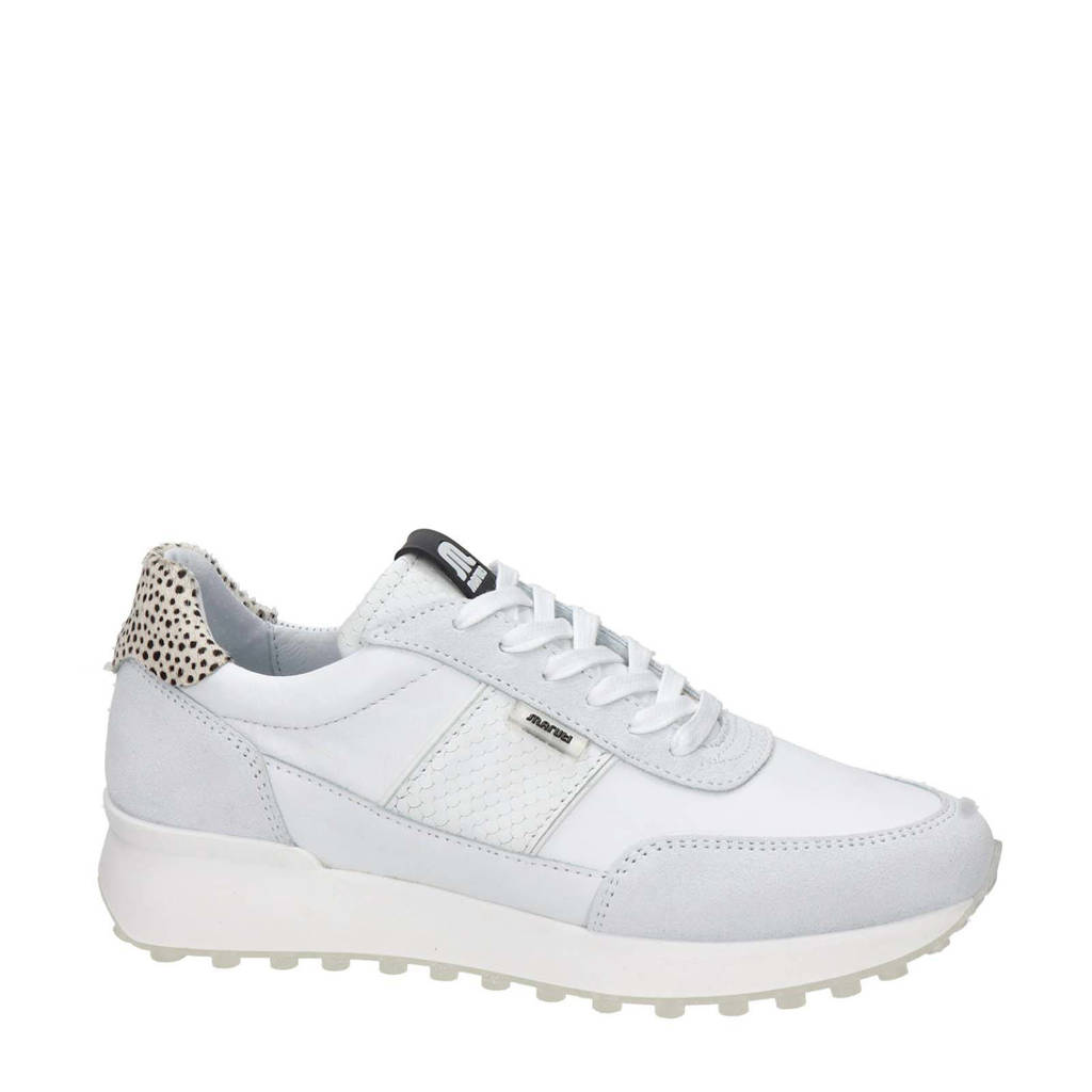 Maruti Lois  leren sneakers wit, Wit/beige/zwart