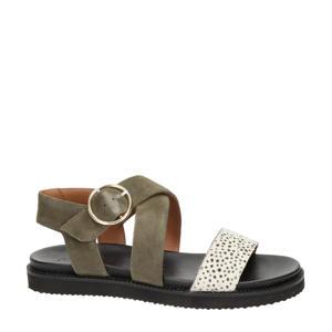 Dion  suède sandalen groen/wit