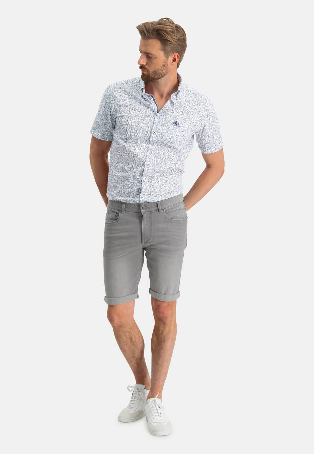 State of Art regular fit jeans short grijs, Grijs