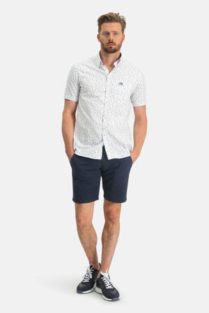 regular fit overhemd met all over print wit/kit