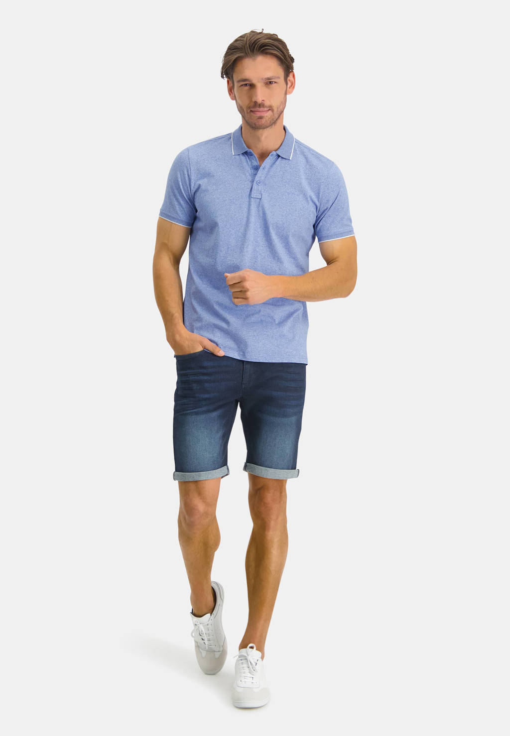State of Art gemêleerde regular fit polo met contrastbies grijsblauw, Grijsblauw