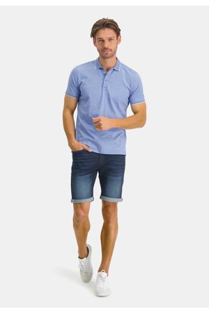 gemêleerde regular fit polo met contrastbies grijsblauw