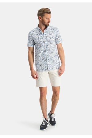 regular fit overhemd met all over print wit/kobalt