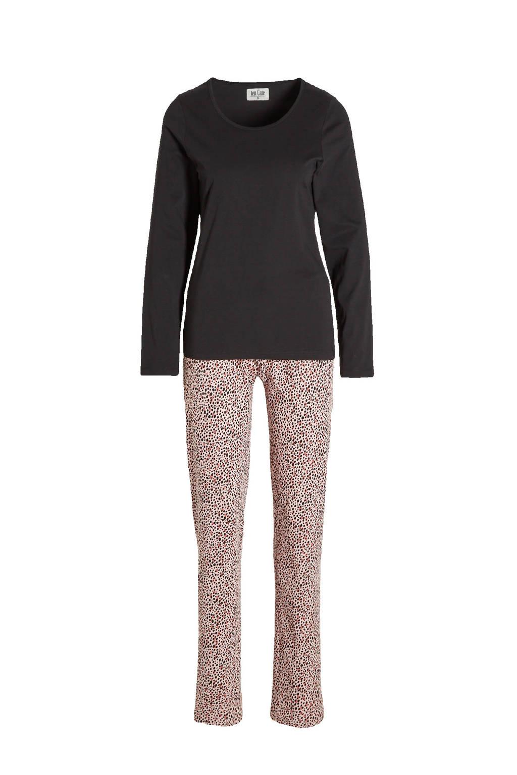 ten Cate pyjama met all over print zwart/roze, Zwart/roze