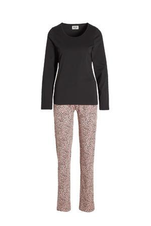 pyjama met all over print zwart/roze