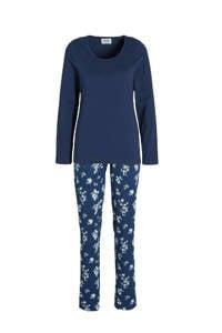 ten Cate pyjama met bloemen donkerblauw, Donkerblauw