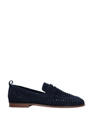 suède loafers donkerblauw