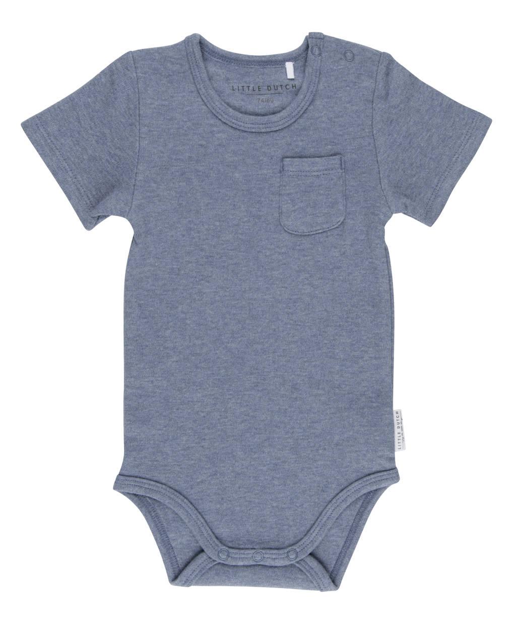 Little Dutch newborn baby romper korte mouw blauw, Blauw