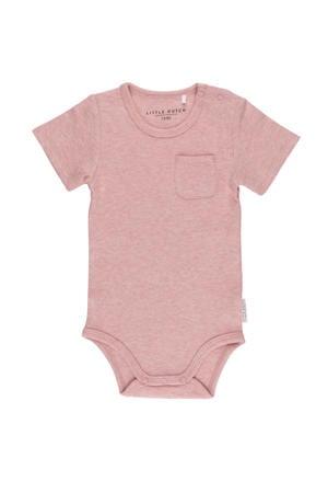 newborn baby romper korte mouw roze