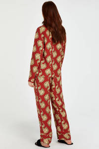 Hunkemöller pyjamatop met all over print donkerrood/goud, Donkerrood/goud