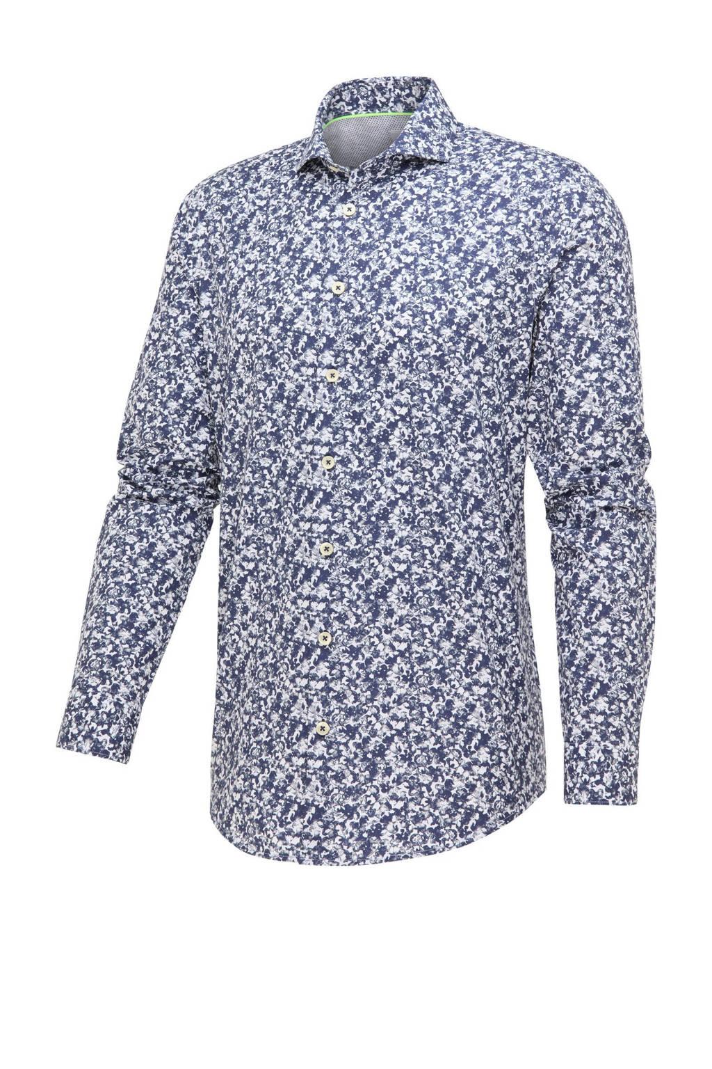 Blue Industry slim fit overhemd met all over print blauw, Blauw