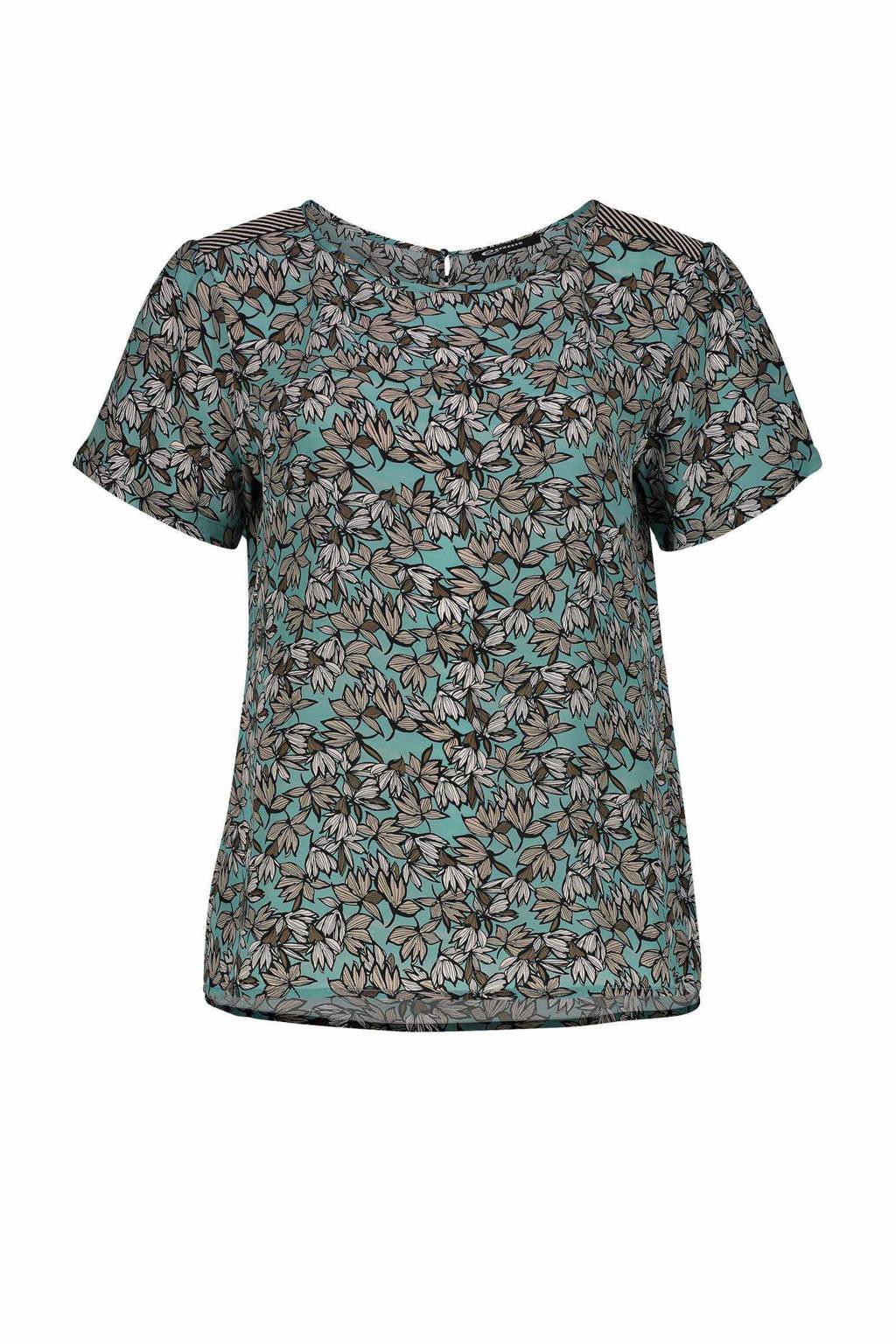 Expresso blouse met all over print mineral blue Jilian, Lichtblauw/olijfgroen/beige