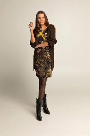 jurk met all over print Lauren zwart/multi