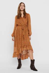 VERO MODA semi-transparante maxi jurk VMJOSEPHINE met all over print en volant oranje, Oranje