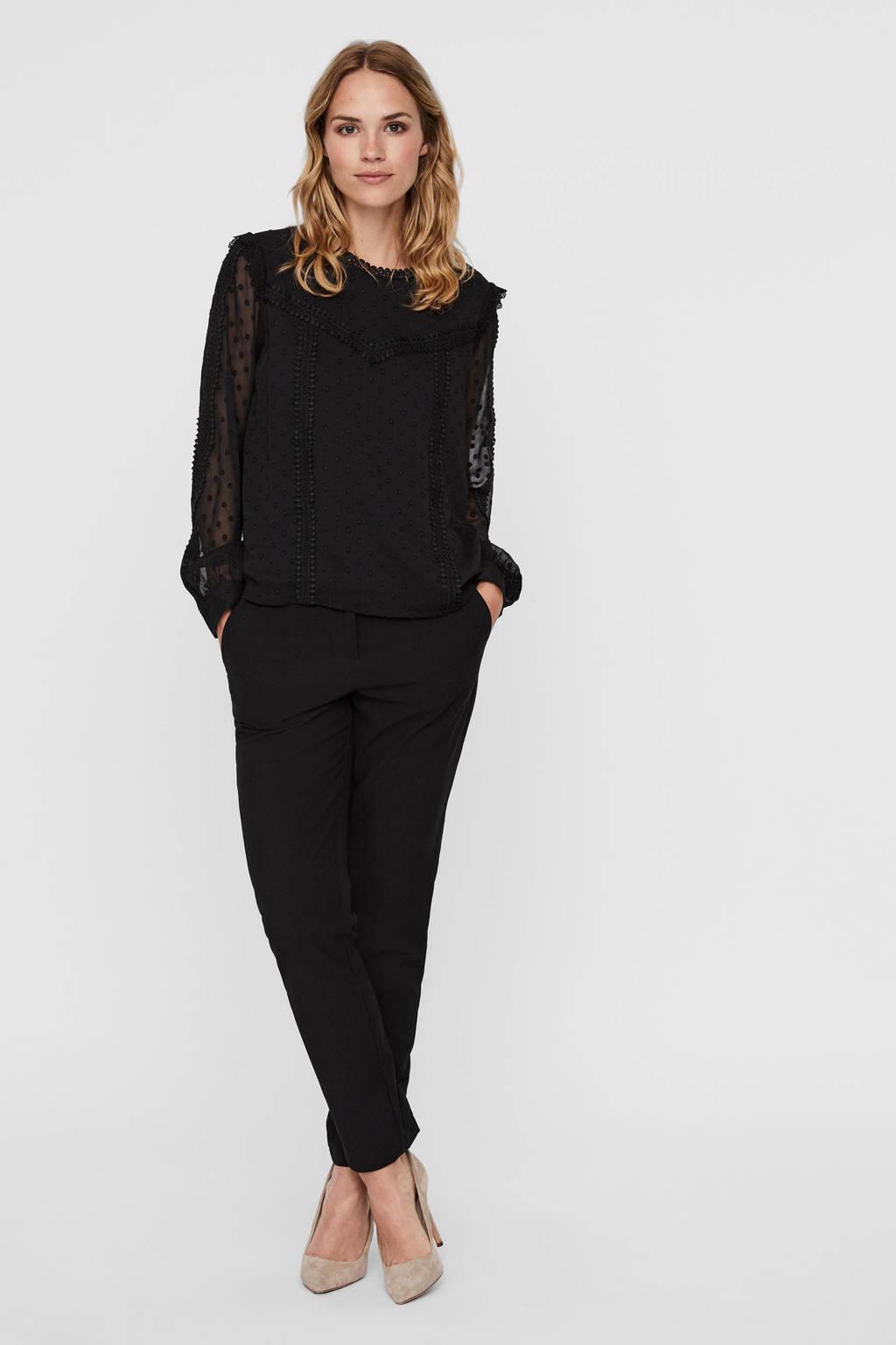 VERO MODA blouse VMDINNIE zwart, Zwart
