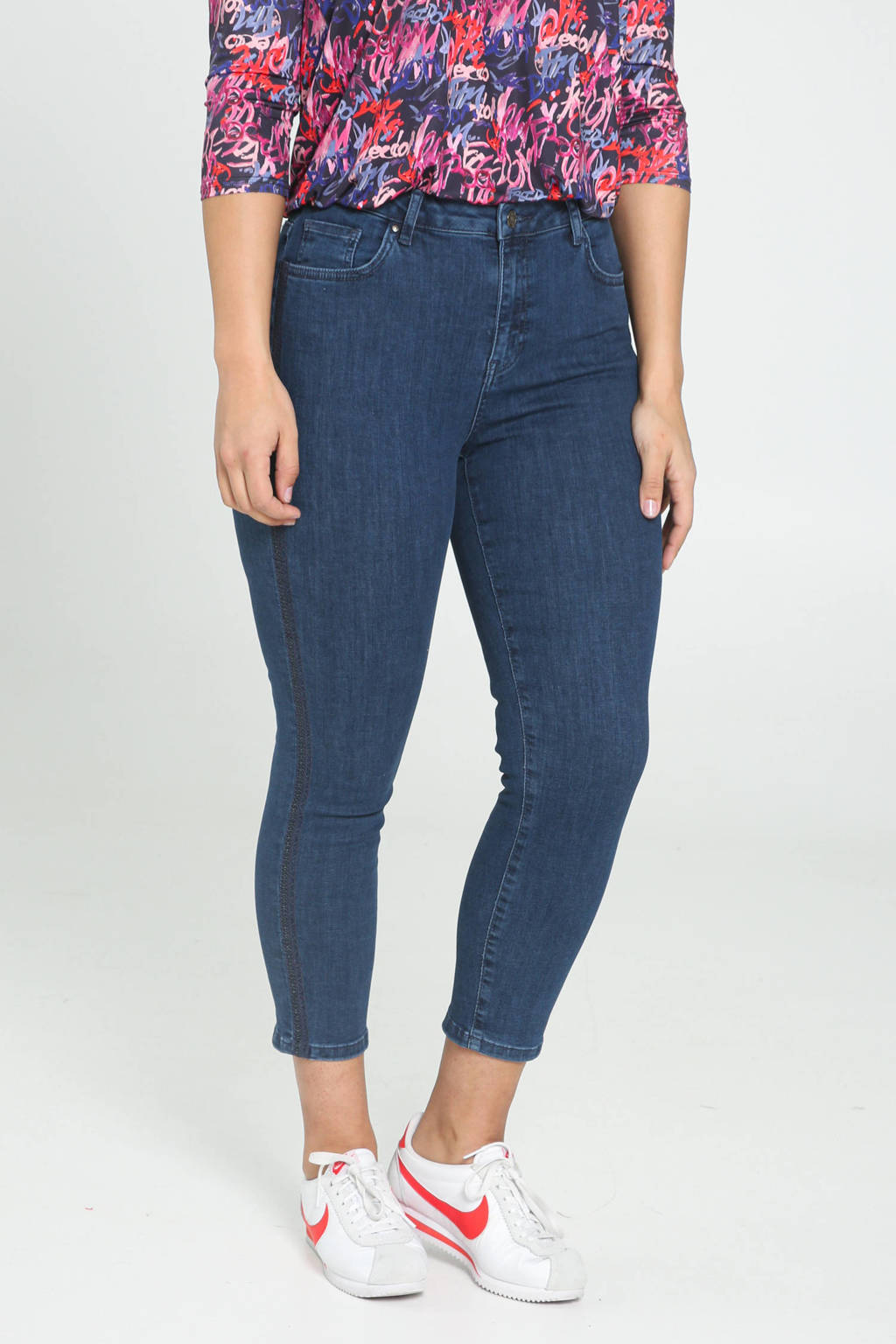 Cassis cropped slim fit jeans blauw, Blauw