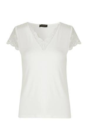 T-shirt met kant ecru