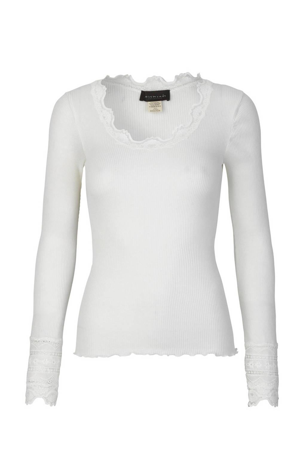 Rosemunde ribgebreide basic longsleeve met zijde wit, Wit