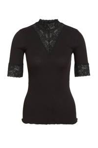 Rosemunde ribgebreide top met kant zwart, Zwart