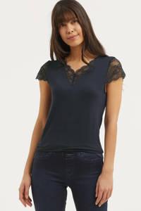 Rosemunde T-shirt met kant donkerblauw, Donkerblauw