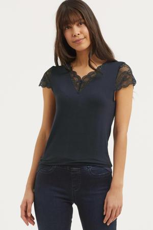 T-shirt met kant donkerblauw