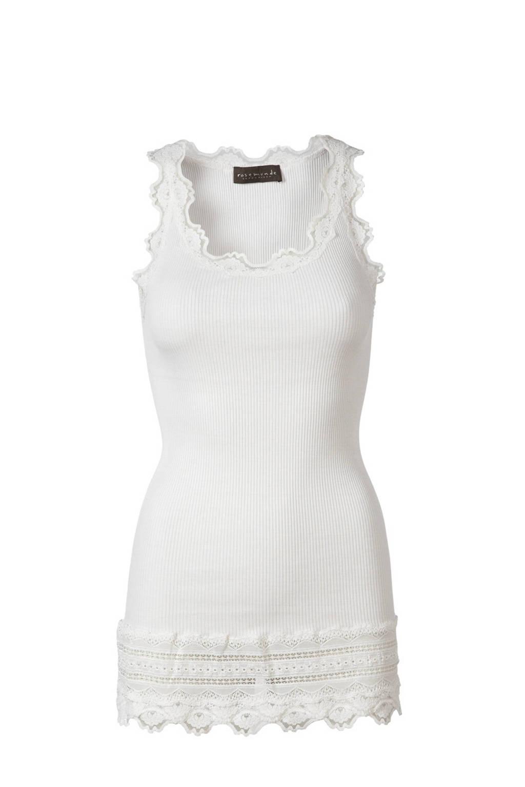 Rosemunde ribgebreide singlet met zijde wit, Wit