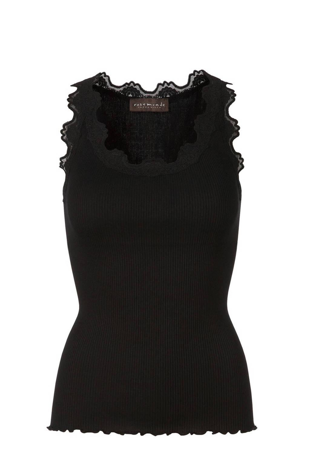Rosemunde ribgebreide singlet met zijde zwart, Zwart