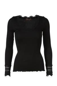Rosemunde ribgebreide basic longsleeve met zijde zwart, Zwart