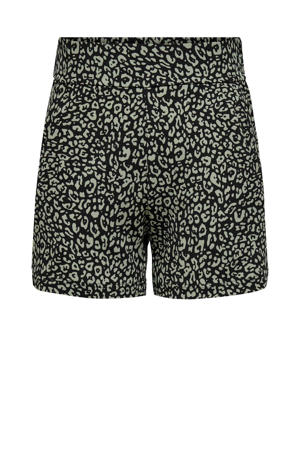 high waist skinny short JDYTUSCON met panterprint zwart/groen