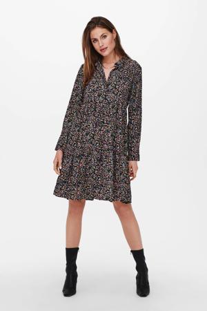 gebloemde blousejurk JDYPIPER zwart/roze/blauw/groen