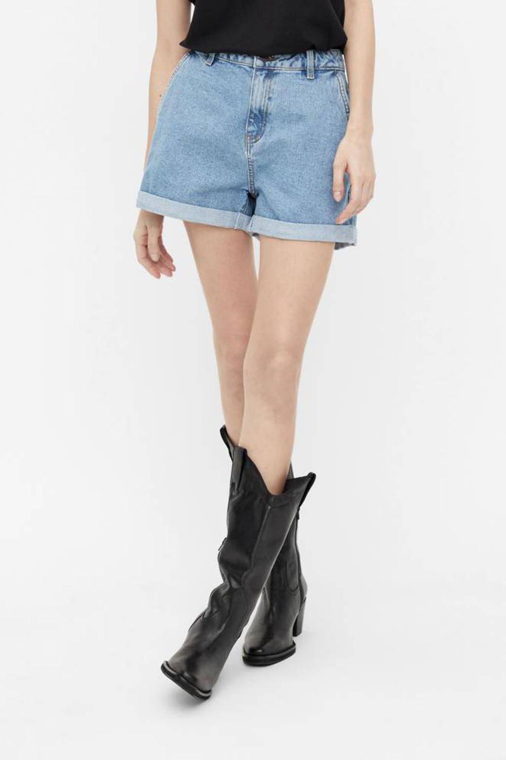 OBJECT high waist jeans short OBJPENNY  light blue denim, Light blue denim