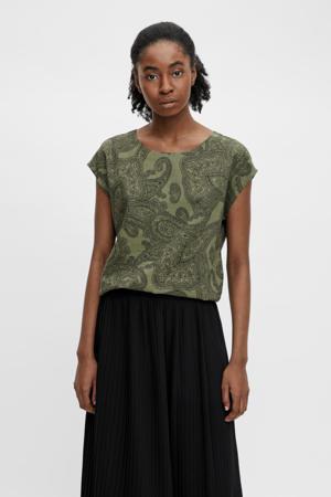 T-shirt OBJADILLA met all over print groen
