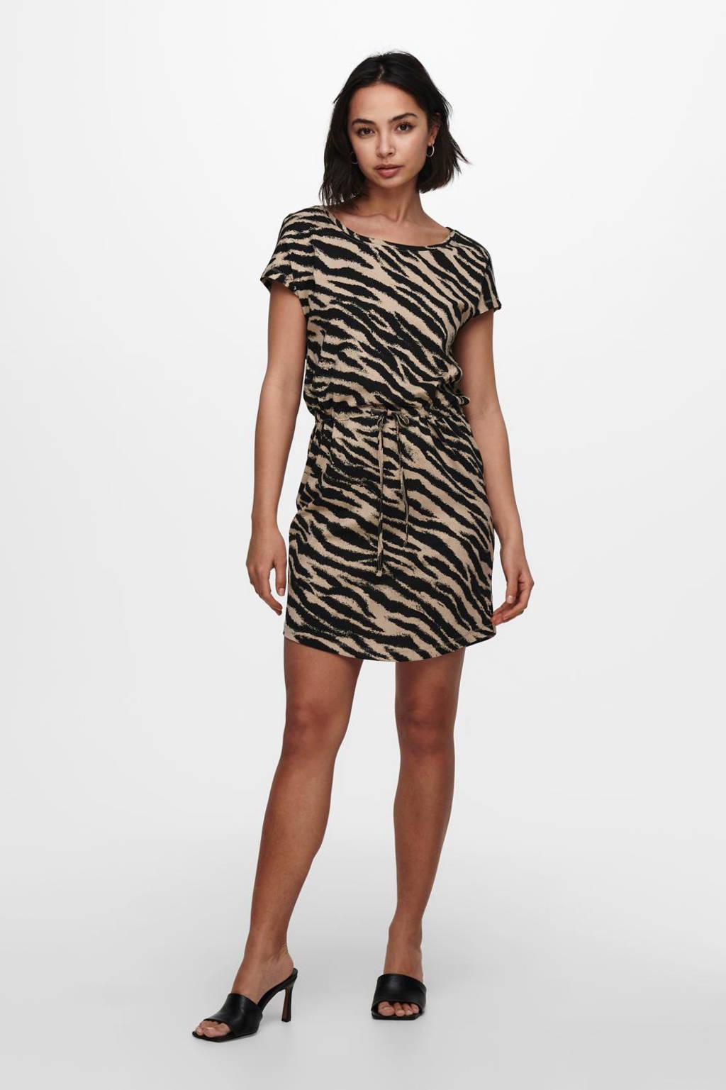 ONLY jurk ONLMAY met all over print zwart/ecru, Zwart/ecru
