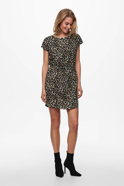 ONLY jurk ONLMAY met all over print zwart/zand, Zwart/zand