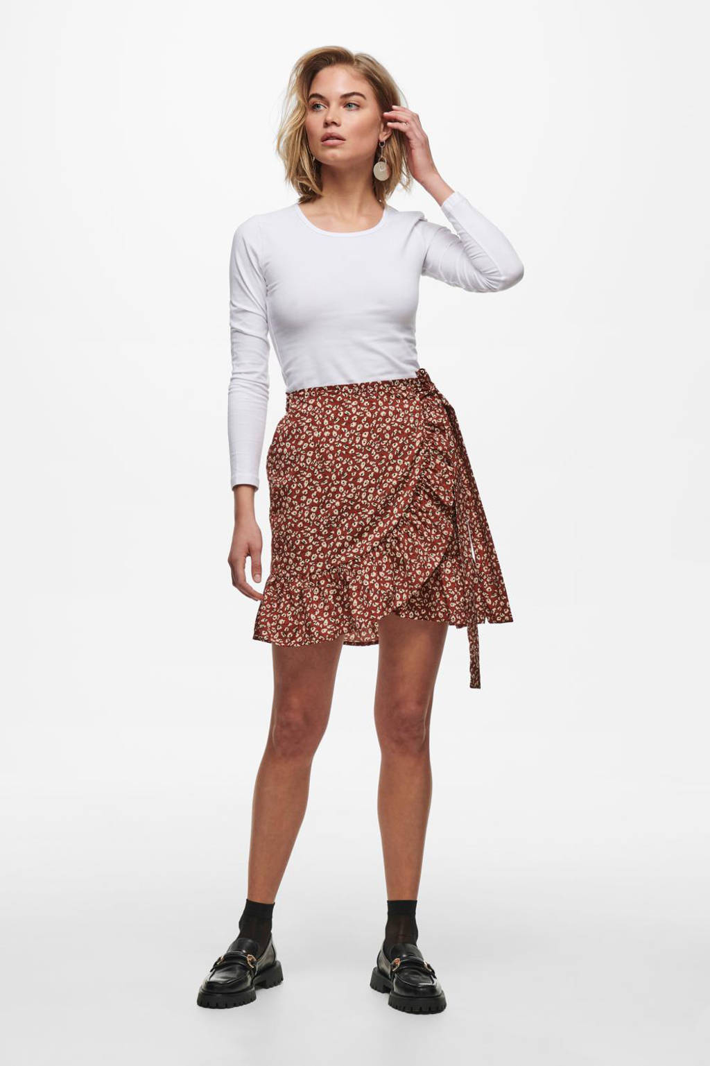 ONLY mini rok ONLOLIVIA met all over print rood, Rood