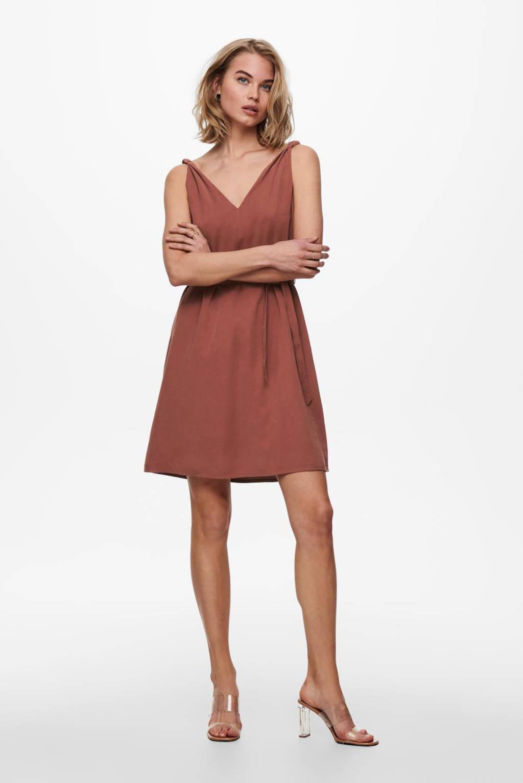 ONLY jurk ONLARIS roodbruin, Roodbruin